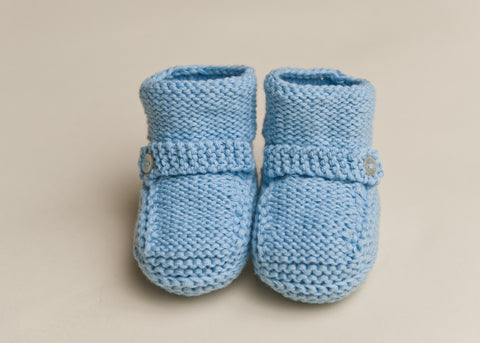 Baby Boy Knit Hat and Bootie Set