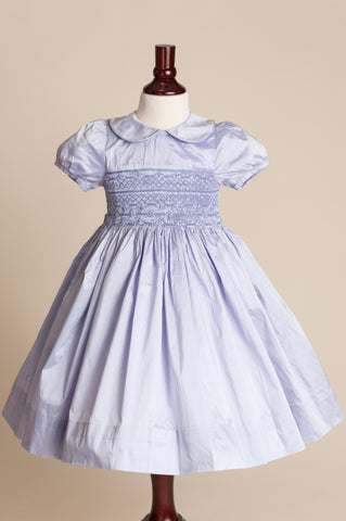 Hand-smocked Lavender Silk Dress with Peter Pan Collar