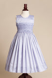 Sleeveless Lavender Hand-smocked Silk Dress