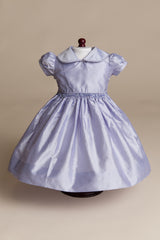 Hand-smocked Lavender Silk Doll Dress