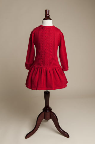 Berry Cable Knit Sweater Dress