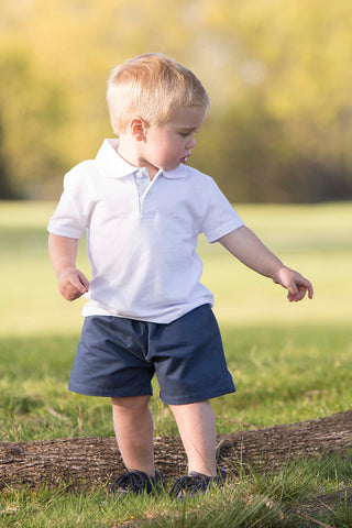 Boys White with Seersucker Polo