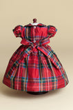 Hand-smocked Red Plaid Silk Doll Dress