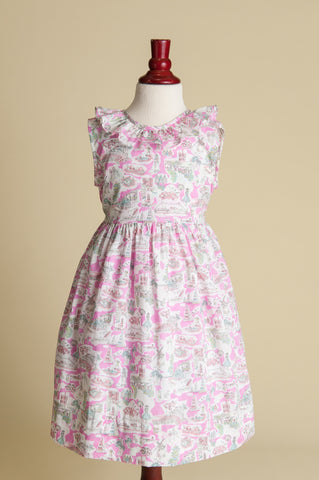 Liberty of London 'Pink in Provence' V-back Ruffle Dress