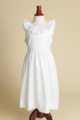 White Cotton V-back Ruffle Dress