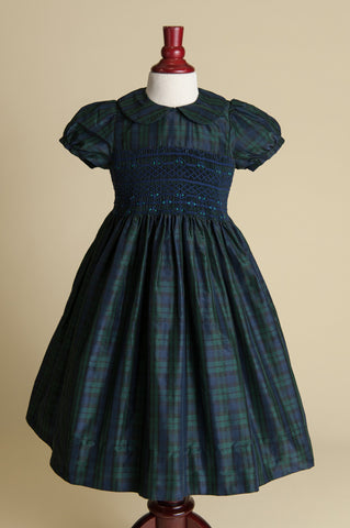 Hand-smocked Blackwatch Plaid Silk Dress with Peter Pan Collar
