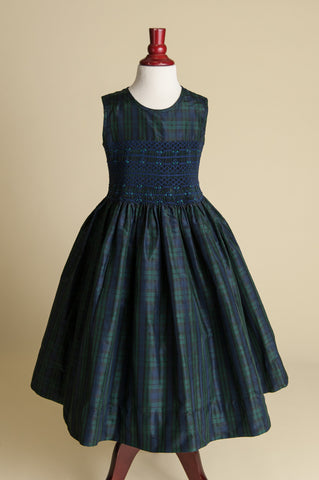 Sleeveless Hand-smocked Blackwatch Plaid Silk Dress