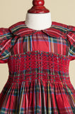 Hand-smocked Red Plaid Silk Dress with Peter Pan Collar