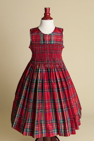 Sleeveless Hand-smocked Red Plaid Silk Dress