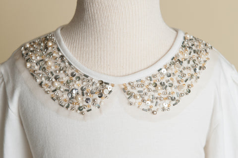 Girls Jeweled Creme Collar Shirt