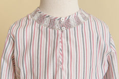 Girls Pink Stripe Smocked Blouse