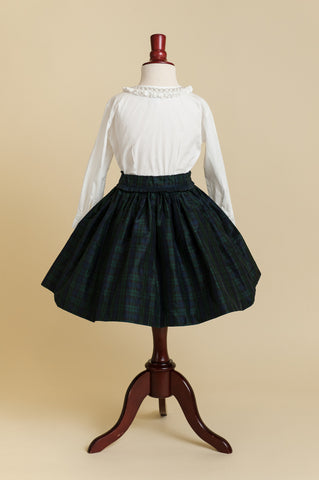 Blackwatch Plaid Silk Taffeta Party Skirt