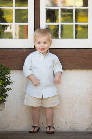 Boys Soft Green Button-down