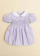 Lavender Candy Stripe Bubble with Peter Pan Collar and Puff Sleeve