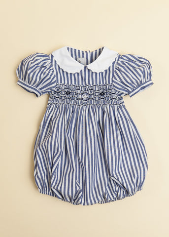 Navy Candy Stripe Bubble with Peter Pan Collar and Puff Sleeve