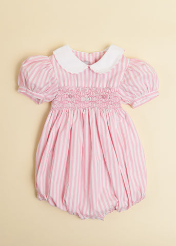 Pink Candy Stripe Bubble with Peter Pan Collar and Puff Sleeve