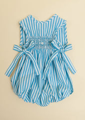 Turquoise Stripe Sleeveless Bubble