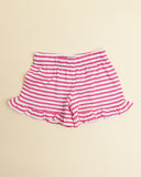 Ruffle Jersey Shorts in Pink Stripes