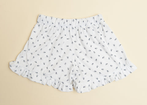 Ruffle Jersey Shorts in White with Navy Floral