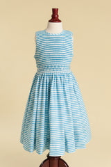 Older Girl Striped Turquoise Dress