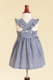 'Lillian' Dress in Navy Gingham with Ruffle Strap