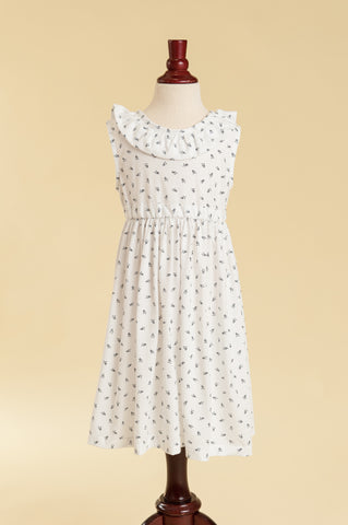 Jersey V-back Ruffle Dress in White & Navy Floral