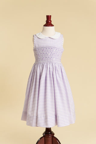 Lavender Candy Stripe Smocked Peter Pan Collar Dress