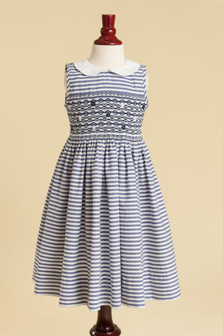 Navy Candy Stripe Smocked Peter Pan Collar Dress