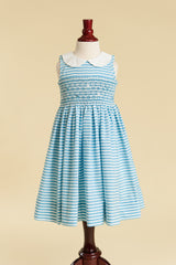 Turquoise Stripe Smocked Peter Pan Collar Dress