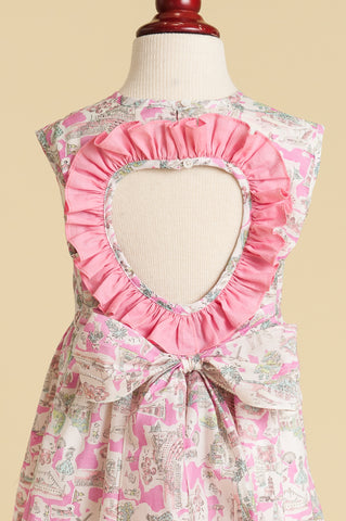 Liberty of London 'Pink in Provence' Heart-back Ruffle Dress