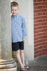 Boys Navy Gingham Buttondown