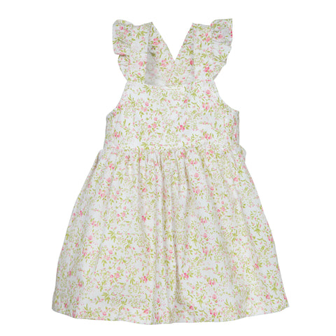 'Lillian' Dress in Pink Floral with Ruffle Straps
