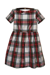 Royal Stewart Plaid Boat Neck Silk Dress