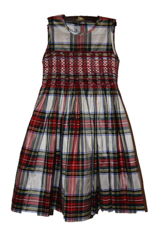 Sleeveless Hand-smocked Royal Stewart Plaid Silk Dress