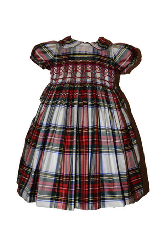 Hand-smocked Royal Stewart Plaid Silk Dress with Peter Pan Collar