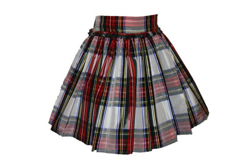 Royal Stewart Plaid Silk Taffeta Party Skirt