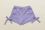 Girls Lavender Jersey Bow Shorts