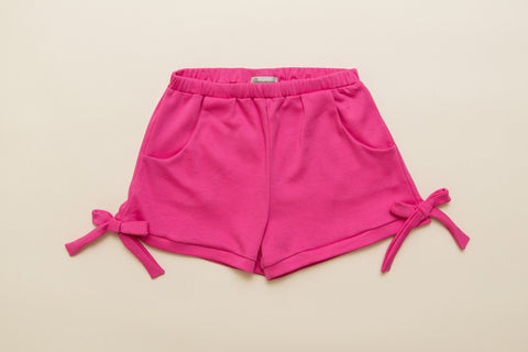 Girls Pink Jersey Bow Shorts