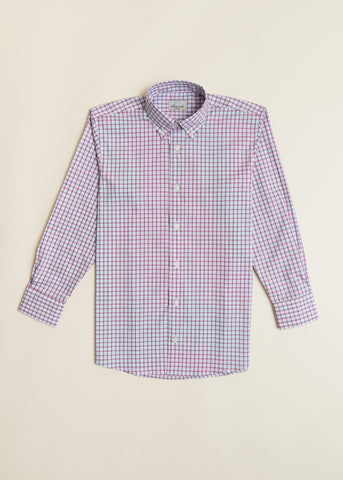 Boys Sky Blue Plaid Button-down Shirt