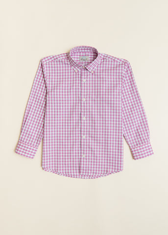 Boys Pink Check Button-down Shirt