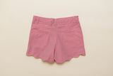 Girls Chambray Scalloped Shorts in Pink