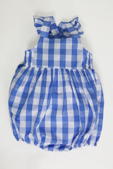 'Lillian' Baby Girl Bubble in Cornflower Blue Gingham with Ruffle Strap