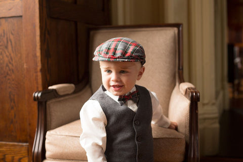 Festive Grey Plaid Newsboy Cap