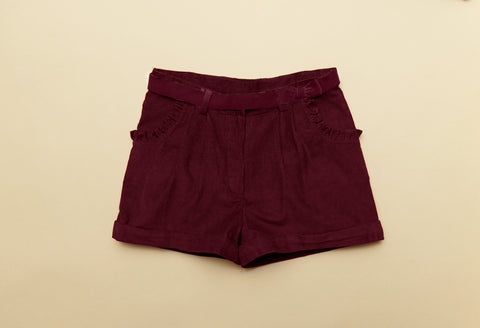 Girls Boysenberry Corduroy Winter Shorts