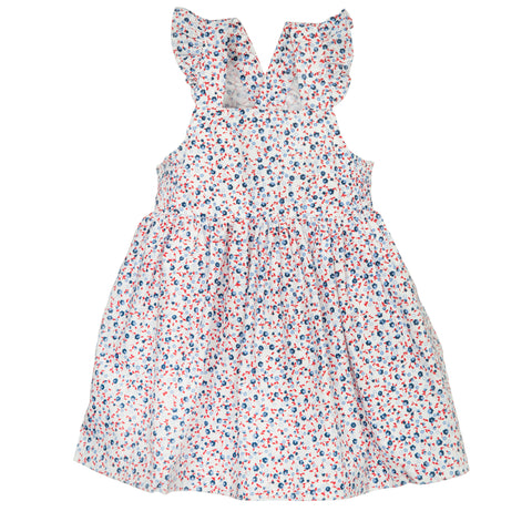 'Lillian' Dress in Red, White and Blue Floral with Ruffle Strap