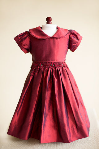 Hand-smocked Ruby Red Silk Doll Dress