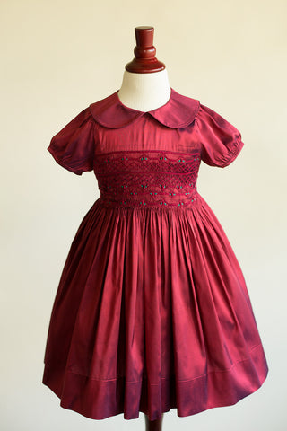 Hand-smocked Ruby Silk Dress with Peter Pan Collar