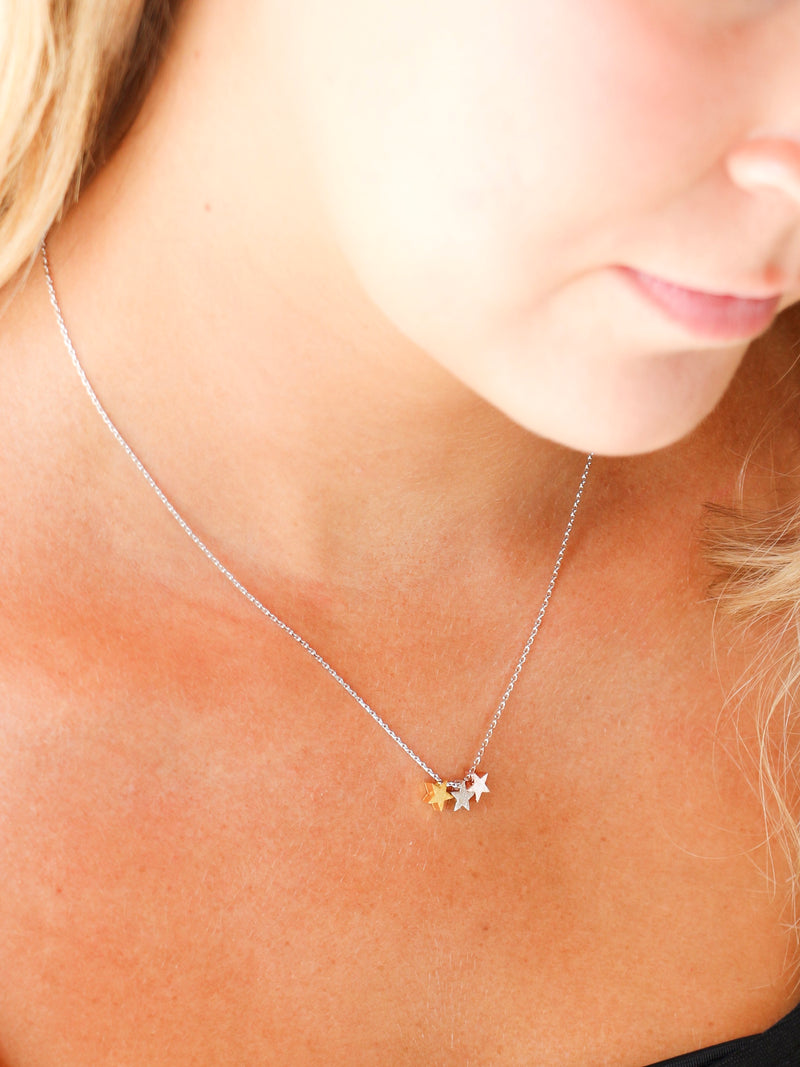 Three Tone Star Necklace