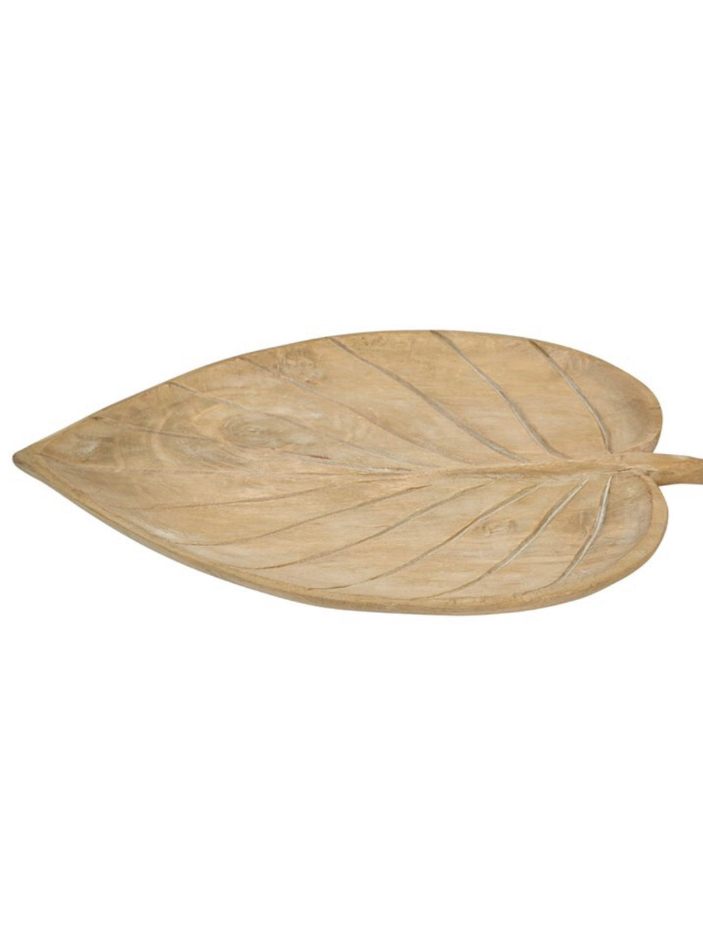 Hand-Carved Wood Leaf Tray