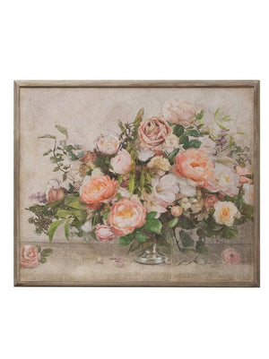 Pink Botanical Beauty With Wood Frame